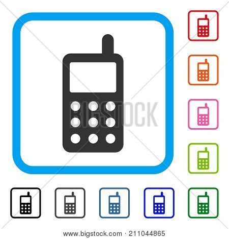 Portable Radio Transmitter icon. Flat gray iconic symbol in a light blue rounded rectangle. Black, gray, green, blue, red, orange color additional versions of Portable Radio Transmitter vector.