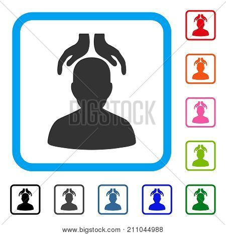 Psychiatry Hands icon. Flat grey iconic symbol in a light blue rounded rectangle. Black, gray, green, blue, red, orange color additional versions of Psychiatry Hands vector.