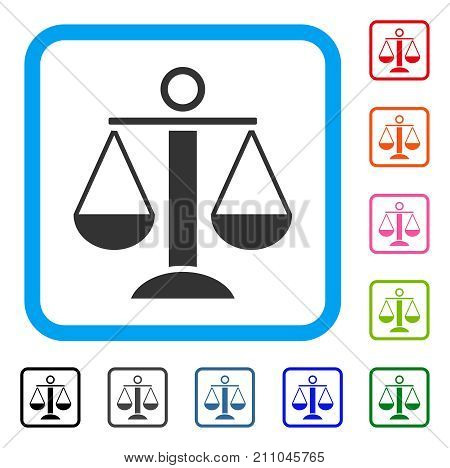 Scales Balance icon. Flat grey pictogram symbol inside a light blue rounded square. Black, gray, green, blue, red, orange color additional versions of Scales Balance vector.