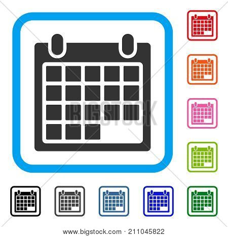 Schedule Calendar Grid icon. Flat grey iconic symbol inside a light blue rounded rectangle. Black, gray, green, blue, red, orange color variants of Schedule Calendar Grid vector.