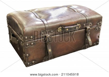 Leather suitcase chest closeup isolated on white.