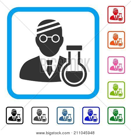 Sick Chemist icon. Flat grey iconic symbol in a light blue rounded rectangular frame. Black, gray, green, blue, red, orange color versions of Sick Chemist vector. Designed for web and app interfaces.