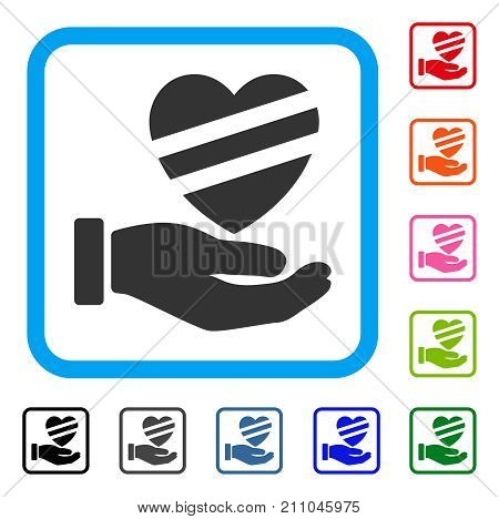 Sick Heart Care Hand icon. Flat grey pictogram symbol in a light blue rounded square. Black, gray, green, blue, red, orange color versions of Sick Heart Care Hand vector. Designed for web and app UI.