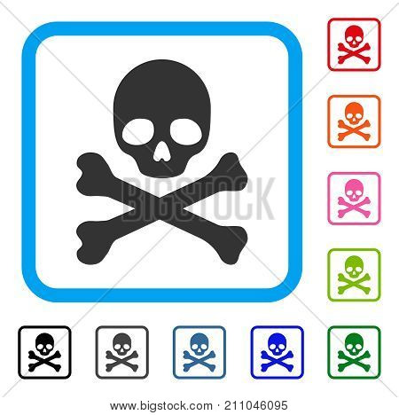 Skull And Crossbones icon. Flat grey iconic symbol in a light blue rounded rectangular frame. Black, gray, green, blue, red, orange color variants of Skull And Crossbones vector.