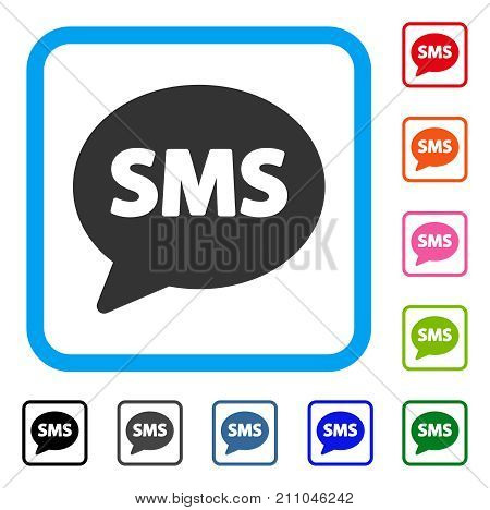 SMS Balloon icon. Flat grey iconic symbol in a light blue rounded rectangular frame. Black, gray, green, blue, red, orange color versions of SMS Balloon vector.