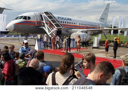 Moscow Region - July 21 2017: Short-haul passenger aircraft Sukhoi Superjet 100 at the International Aviation and Space Salon (MAKS) in Zhukovsky.