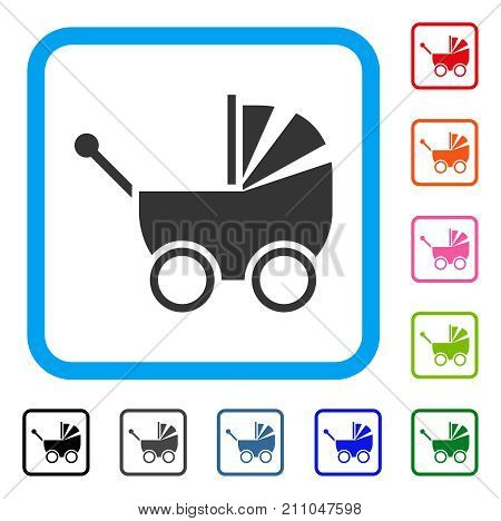 Baby Carriage icon. Flat grey iconic symbol inside a light blue rounded rectangle. Black, gray, green, blue, red, orange color additional versions of Baby Carriage vector.
