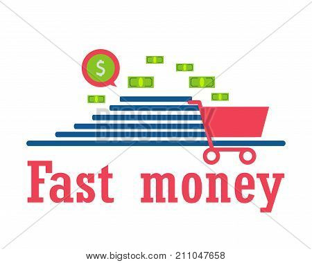concept: quick money for shopping gifts send pay delivery. Modern technologies. vector illustration. Eps 10.