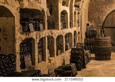 Epernay France - June 10 2017: Old champagne caves with 'pupitres' at the Champagne House Castellane France.