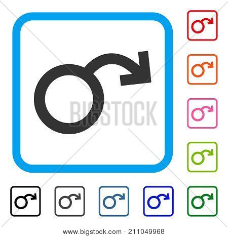 Sexual Impotence icon. Flat grey iconic symbol inside a light blue rounded frame. Black, gray, green, blue, red, orange color additional versions of Sexual Impotence vector.