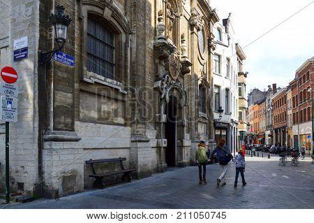 Brussels, Belgium - April 2015:  Church Of Our Lady Of Assistance (notre-dame De Bon Secours), A Cat
