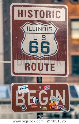 The Route 66 Sign In Chicago