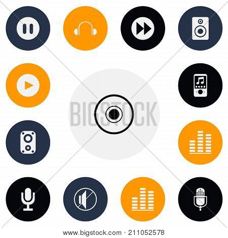 Set Of 13 Editable Sound Icons. Includes Symbols Such As Play Button, Audio Bass, Silent And More