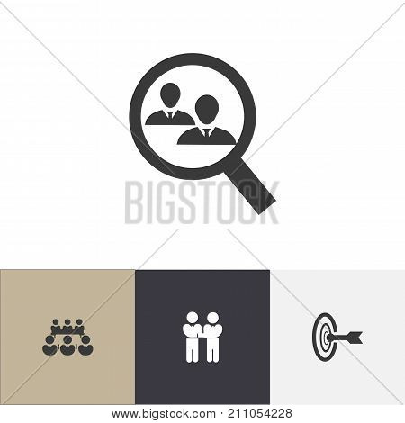 Set Of 4 Editable Community Icons. Includes Symbols Such As Goal, Human Resouces, Debate And More