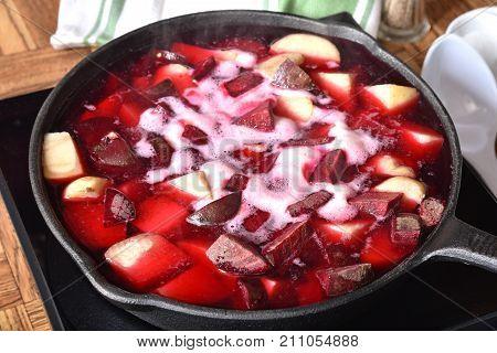 Cooking Beet Hash