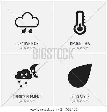 Set Of 4 Editable Weather Icons. Includes Symbols Such As Precipitation, Crescent Overcast, Drip And More