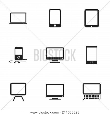 Set Of 9 Editable Gadget Icons. Includes Symbols Such As Telephone, Tablet Phone, Mp3 Player And More