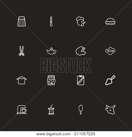 Set Of 16 Editable Meal Outline Icons. Includes Symbols Such As Board, Rasp, Shears And More