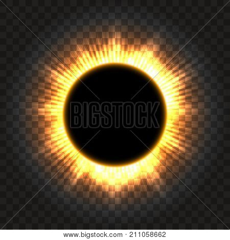 Total solar eclipse vector illustration on transparent background. Full moon shadow sun eclipse with corona