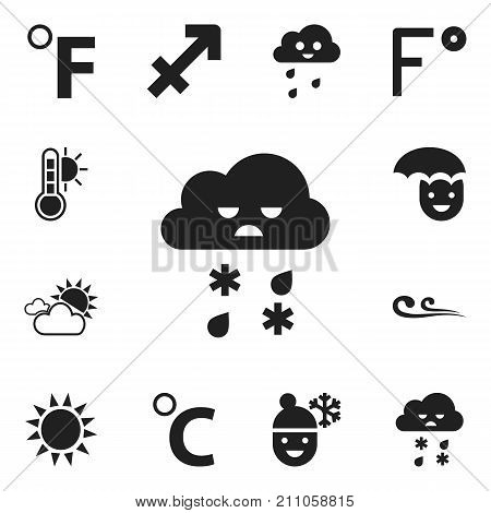 Set Of 12 Editable Air Icons. Includes Symbols Such As Temperature Scale, Thermometer, Celcius Degree And More