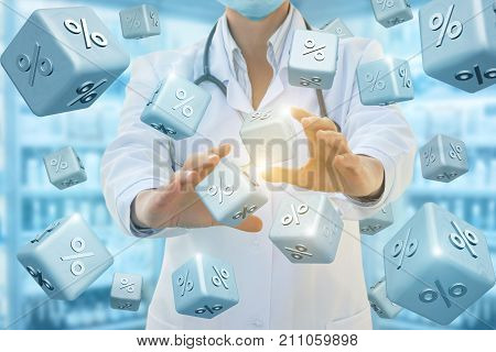 Health Worker Provides A Percentages Discounts .