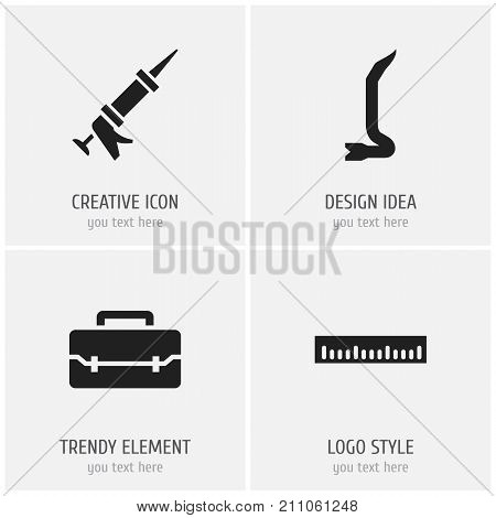 Set Of 4 Editable Tools Icons. Includes Symbols Such As Jimmy, Sealant, Toolbox And More