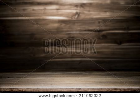 Empty Wooden Desk To Present And Show Product.