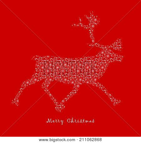 vector christmas reindeer with ornamental decor isolated on red background