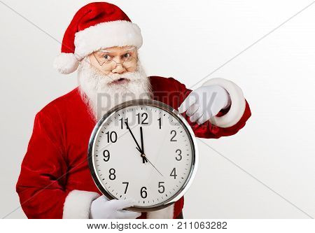 Claus santa clock big santa claus holiday background holiday party