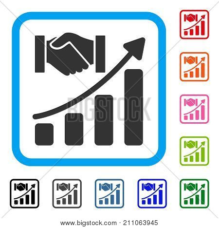 Acquisition Hands Growth Chart icon. Flat gray iconic symbol inside a light blue rounded square. Black, gray, green, blue, red, orange color variants of Acquisition Hands Growth Chart vector.