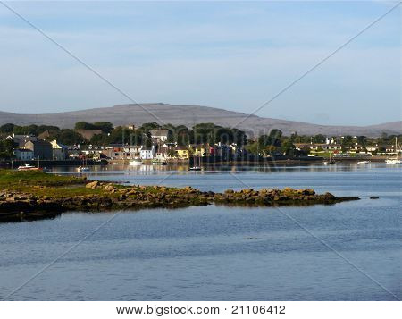 The village of Kinvara sits on Galway Bay in Ireland poster