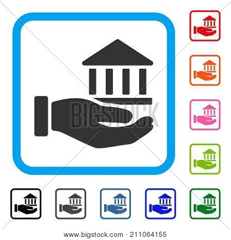 Bank Service Hand icon. Flat gray pictogram symbol in a light blue rounded rectangle. Black, gray, green, blue, red, orange color variants of Bank Service Hand vector.