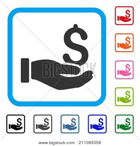 Earnings Hand icon. Flat grey iconic symbol inside a light blue rounded square. Black, gray, green, blue, red, orange color variants of Earnings Hand vector.