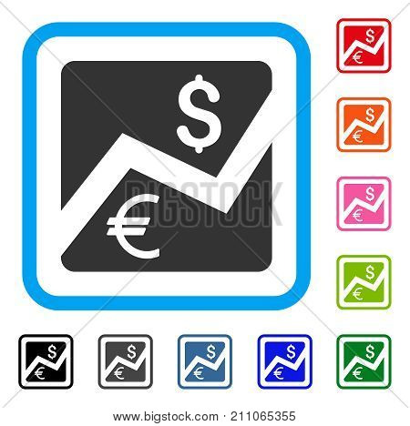 Financial Diagram icon. Flat grey pictogram symbol in a light blue rounded squared frame. Black, gray, green, blue, red, orange color additional versions of Financial Diagram vector.