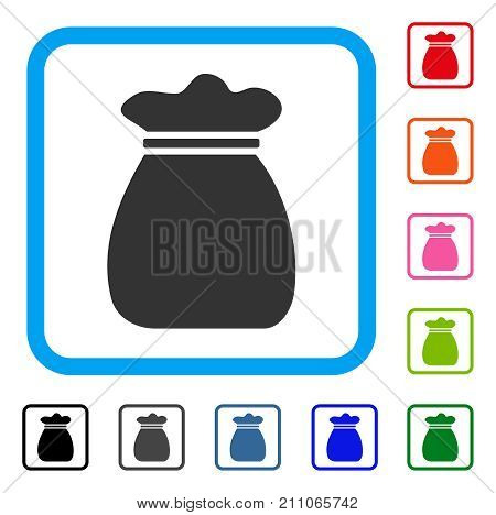 Profit Bag icon. Flat gray iconic symbol in a light blue rounded rectangle. Black, gray, green, blue, red, orange color versions of Profit Bag vector. Designed for web and application user interface.