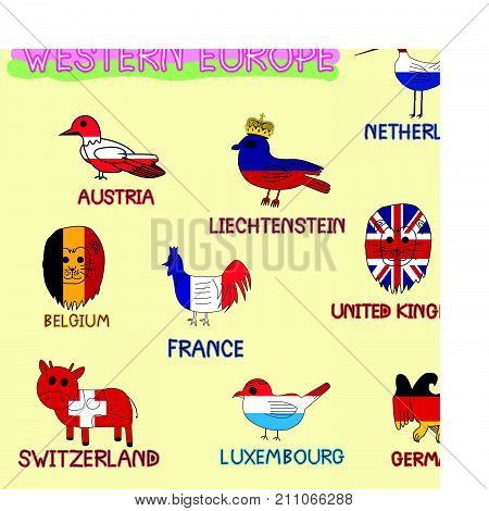 Western Europe National Animals Symbol Imitate Color Country Flag