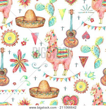 Mexican watercolor seamless pattern, sun, cactus, lama, sombrero, flowers, flags. Day of The Dead illustration. Cinco de Mayo hand painted texture