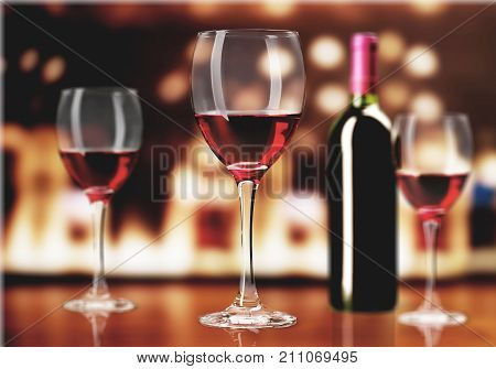 Red wine glasses white background festive holiday