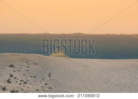 A beautiful sand dune in the middle of Norway. Northern desert in central Scandinavia in autumn. Colorful scenery that looks like a barren land.