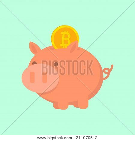 Cryptocurrency Bitcoin. The gold coin is placed in a piggy bank. Vector icon. Buy and sell virtual money.