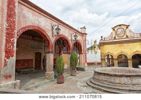 March 1 2016 Bernal Queretaro Mexico: idyllic Spanish arhitecture in the historic town center