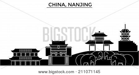 China, Nanjing architecture skyline with landmarks, urban cityscape, buildings, houses, , vector city landscape, editable strokes