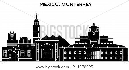 Mexico, Monterrey architecture skyline with landmarks, urban cityscape, buildings, houses, , vector city landscape, editable strokes