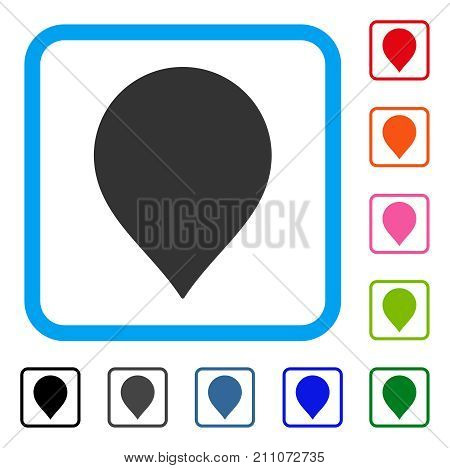 Map Marker icon. Flat grey pictogram symbol in a light blue rounded frame. Black, gray, green, blue, red, orange color variants of Map Marker vector. Designed for web and app UI.