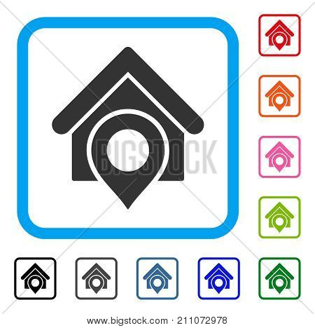 Realty Location icon. Flat grey iconic symbol inside a light blue rounded squared frame. Black, gray, green, blue, red, orange color additional versions of Realty Location vector.