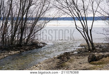Tannery Creek empties into Little Traverse Bay near Bay View, Michigan, during March.