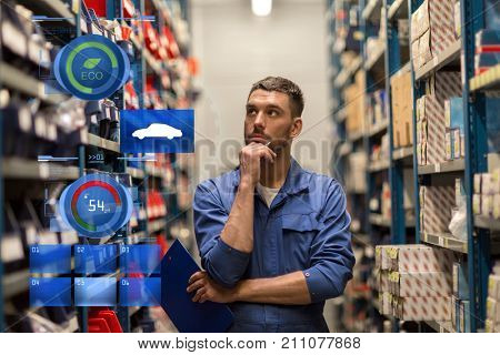 car service, repair, maintenance and people concept - auto mechanic man or smith with clipboard at workshop or warehouse