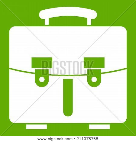 Diplomat bag icon white isolated on green background. Vector illustration