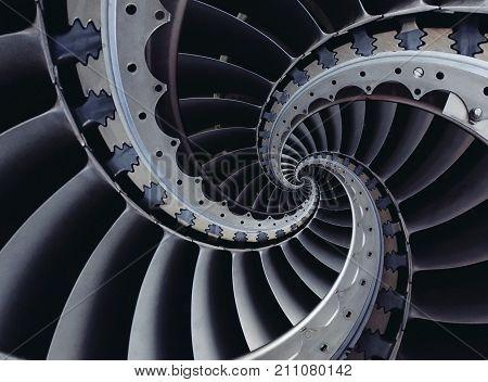 industrial turbine blades spiral background pattern. Turbine blades wings spiral effect abstract fractal pattern background. Industrial turbine background. Turbine abstract background pattern