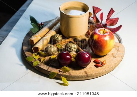 Autumn Drink With Fruits Book And Calm Mood